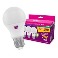 Комплект ламп ELM B60 PA10L 7W E27 4000K алюмопл. корп. 3шт
